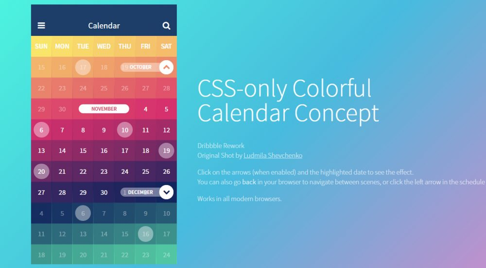 css html calendar template for free download