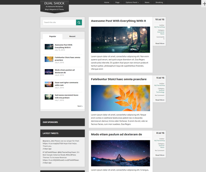 dualshock - free magazine wordpress theme