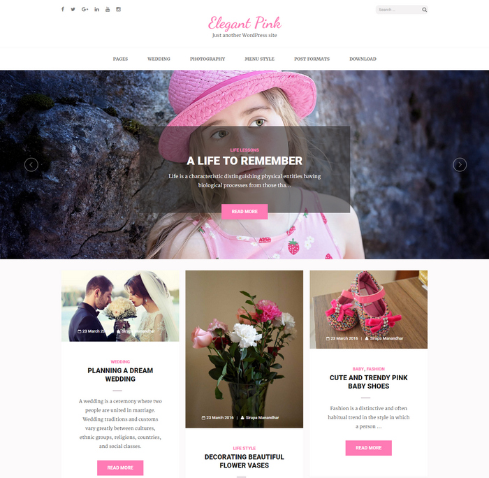 feminine and girly WordPress theme