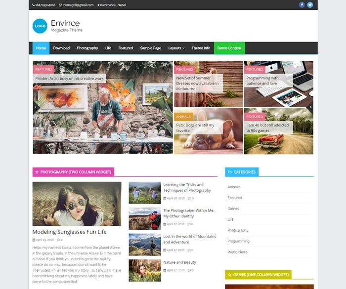perfect responsive magazine style WordPress theme for 2016