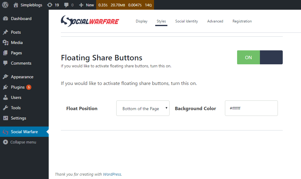 Floating Social bar panel