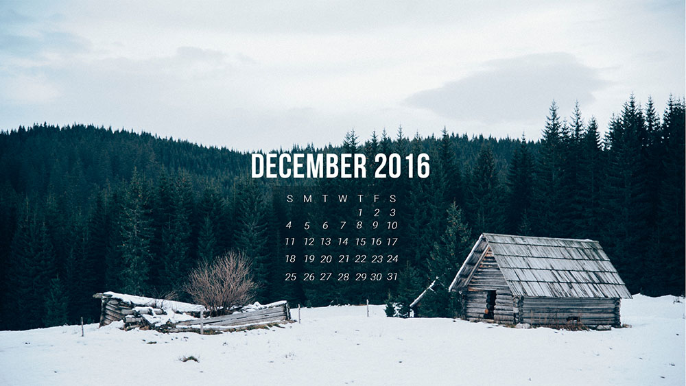 free monthly calendar template for December 2016