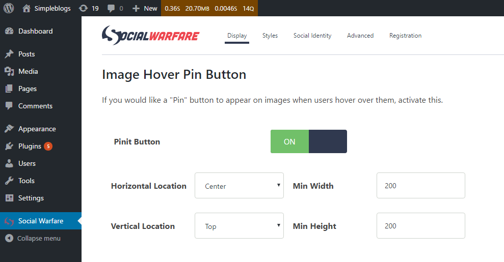 Image Hover Pin Button for pinterest