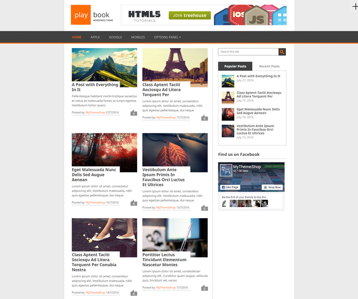 WordPress theme with two column post layout