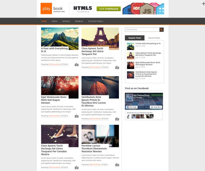 WordPress theme with two column post layout