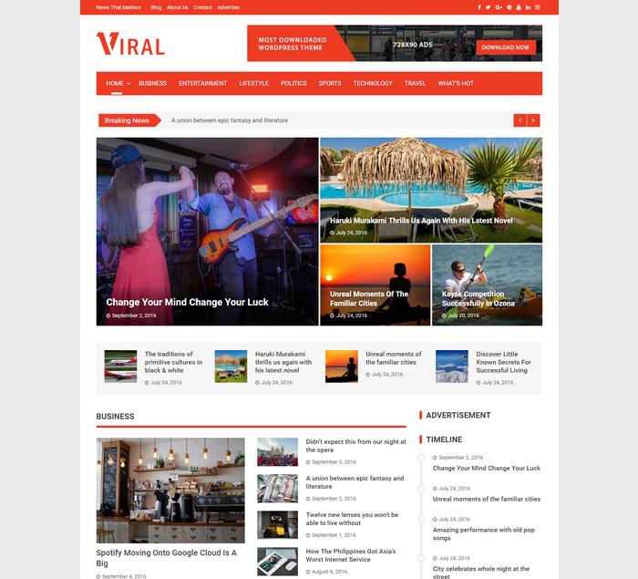 viral - wordpress magazine gags news theme
