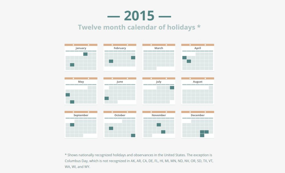 Twelve month calendar of holidays