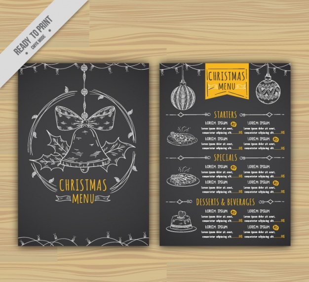 Black Christmas menu template free