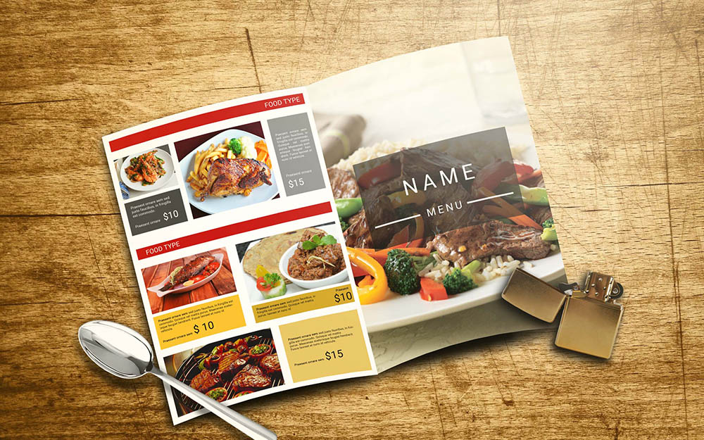 Restaurant Menu with catalog and cover Design