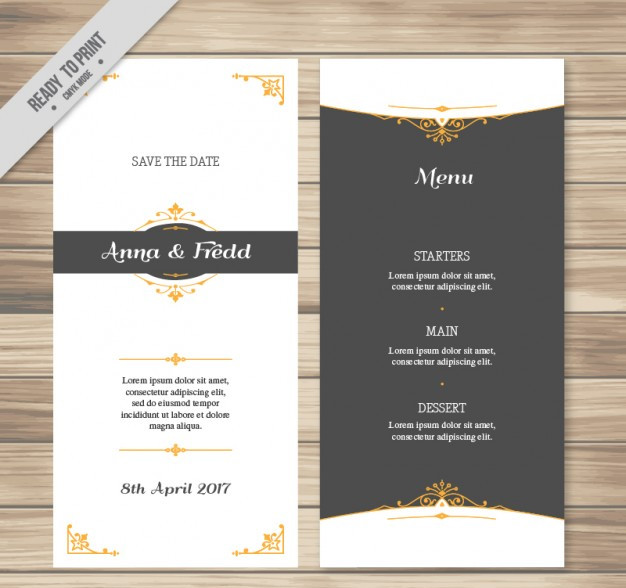 Elegant wedding menu vector