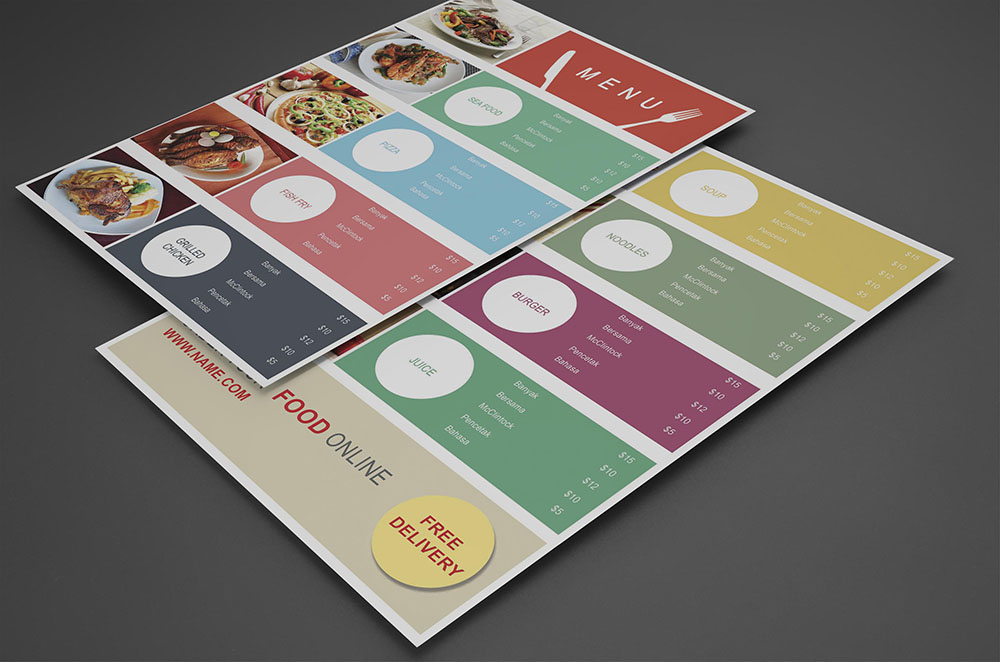 Food Court Menu design psd