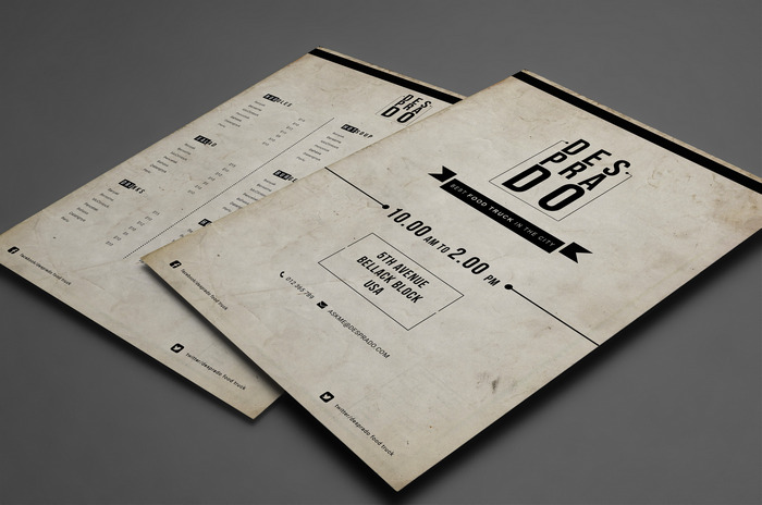 Food truck menu template psd