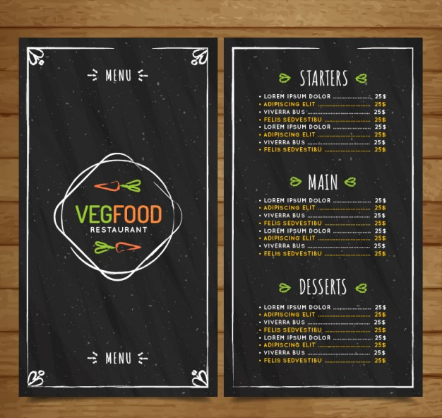 Hand drawn vintage vegan food menu