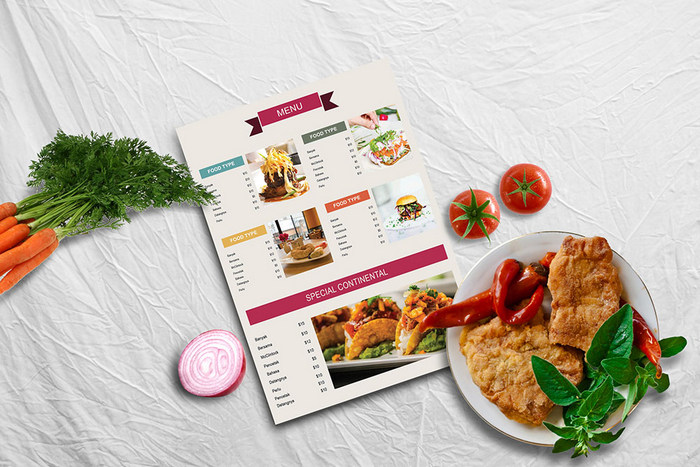 psd mockup for restaurant menu