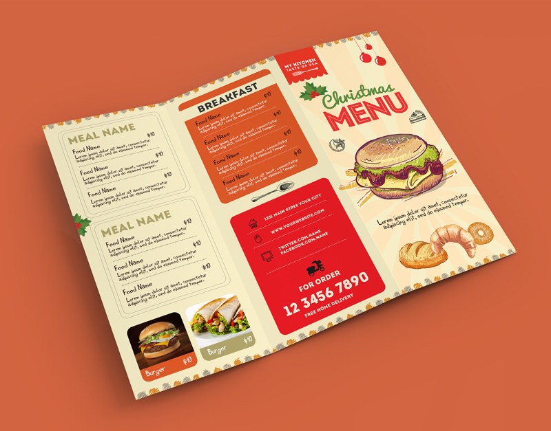 retro food menu psd