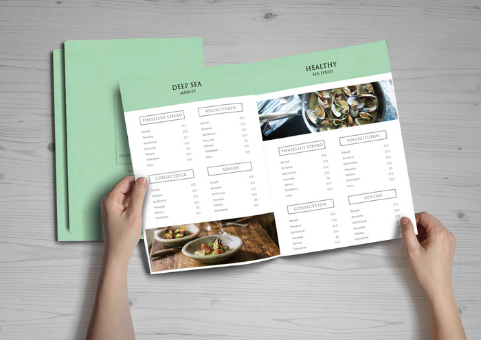 Sea food restaurant menu brochure
