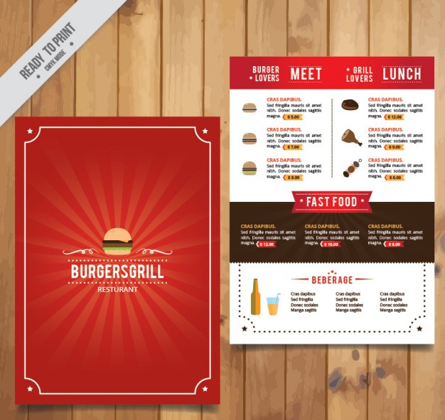 red menu template Free Vector