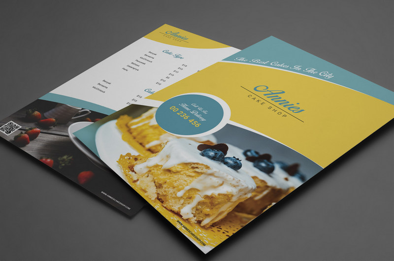 psd template for cake menu with cover