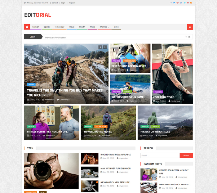 free magazine, editorial wordpress theme