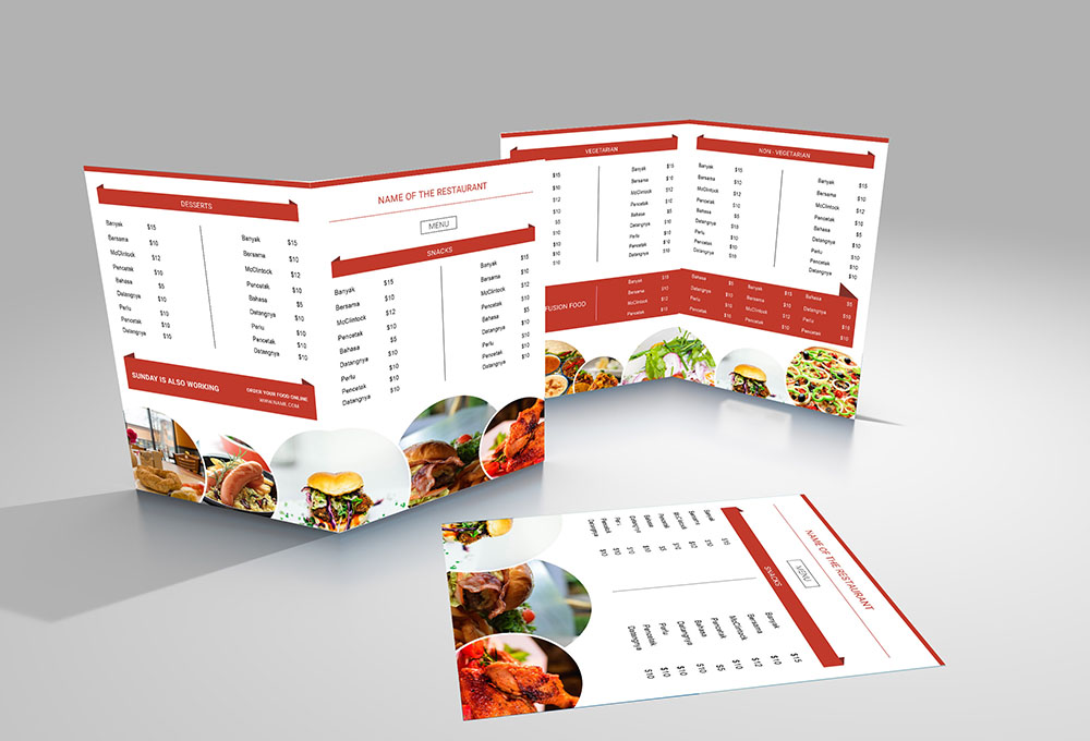 free restaurant menu templates for fast food, takeaway etc