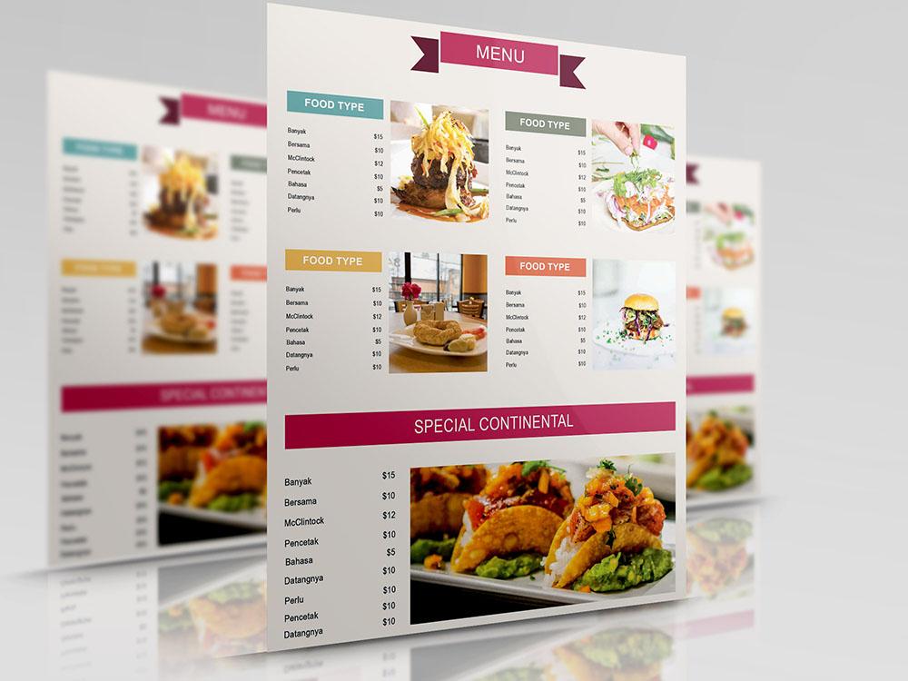 free seafood menu template