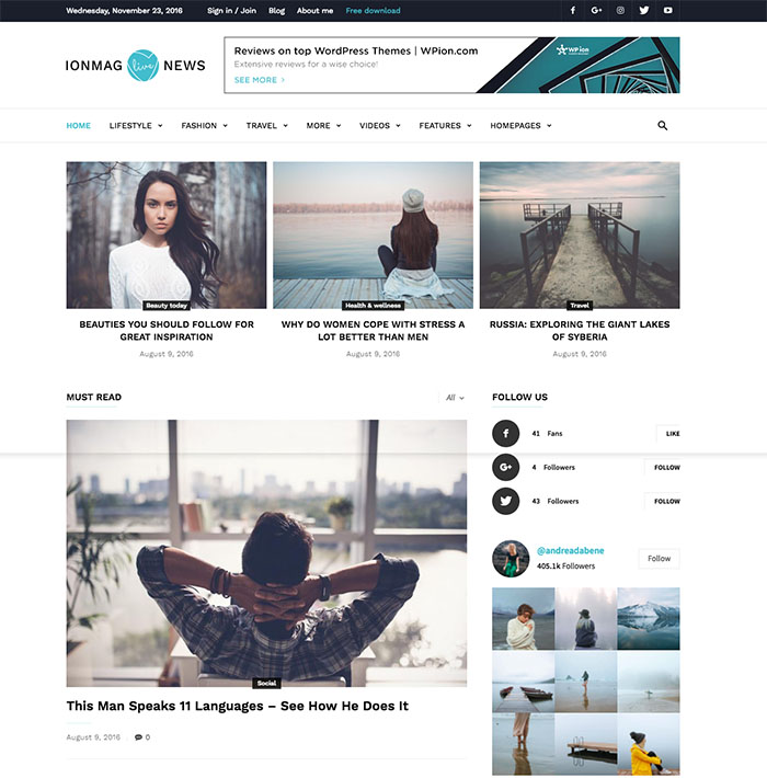 ionMag Free Premium WordPress Theme