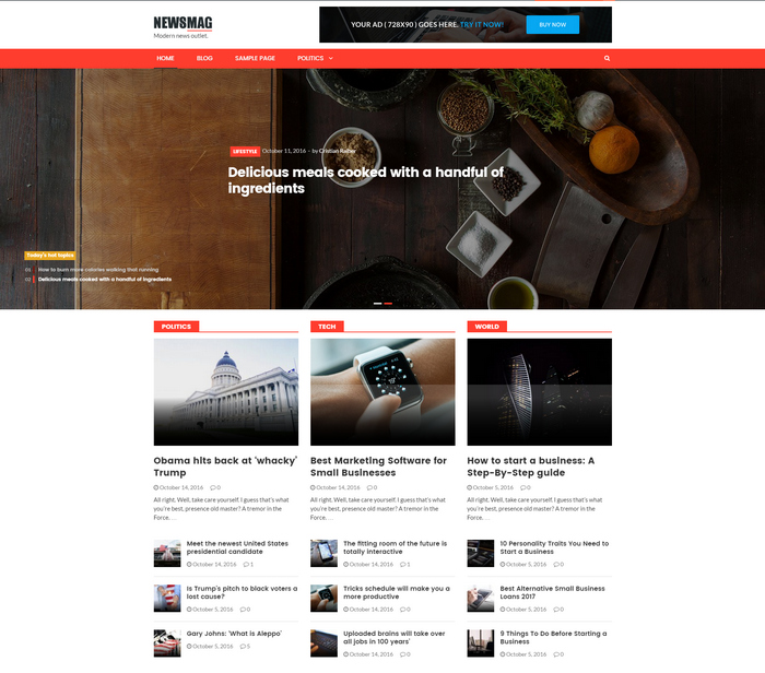 news or blog WordPress theme for magazines, news websites