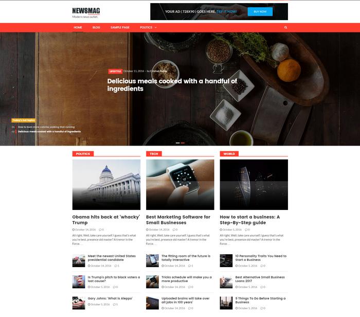news or blog WordPress theme for magazines, news websites