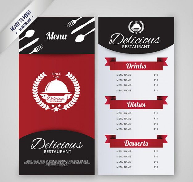 Restaurant menu template - Free Vector