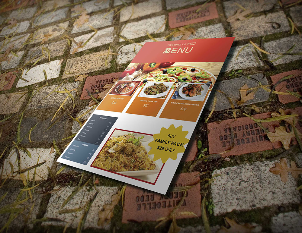 take-out menu psd template