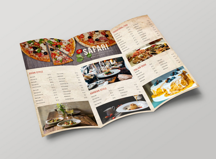 tri fold menu template psd