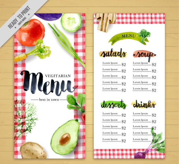 menu vegan restaurant Free Vector