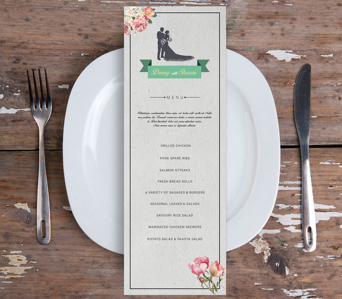 wedding menu flyer psd