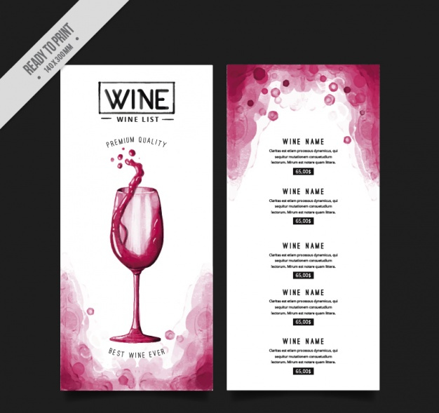 wine menu template in vector