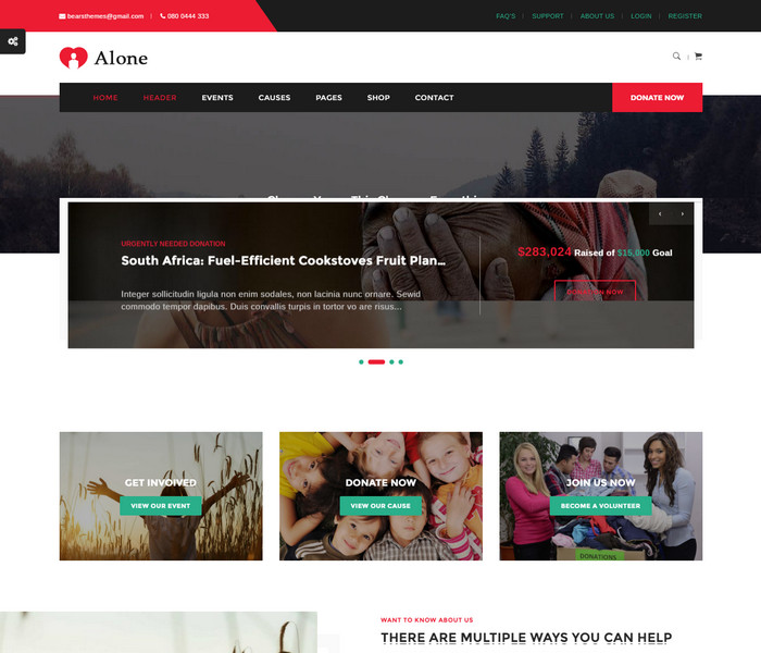 Alone Charity WordPress Theme