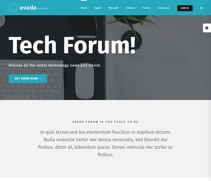 Avada Tech Forum WordPress Theme