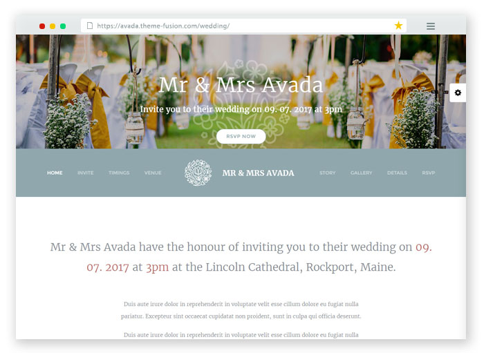 Avada WordPress Wedding Template