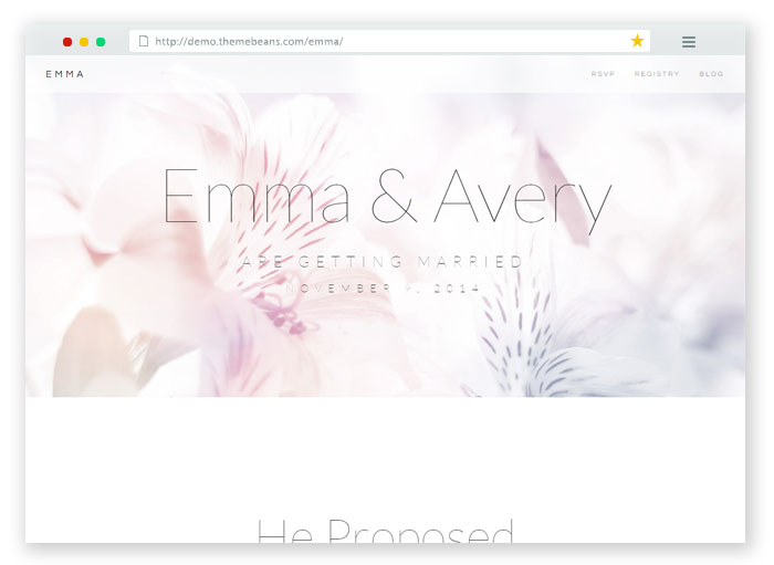 Emma Wedding Event Template