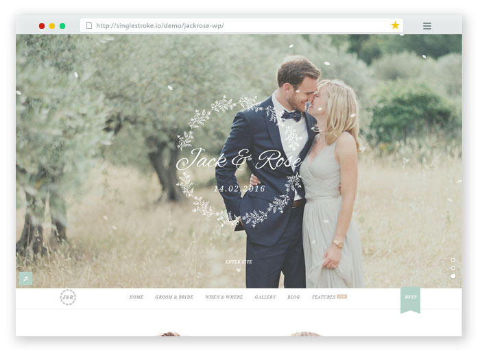 Jack Rose WordPress Wedding Theme