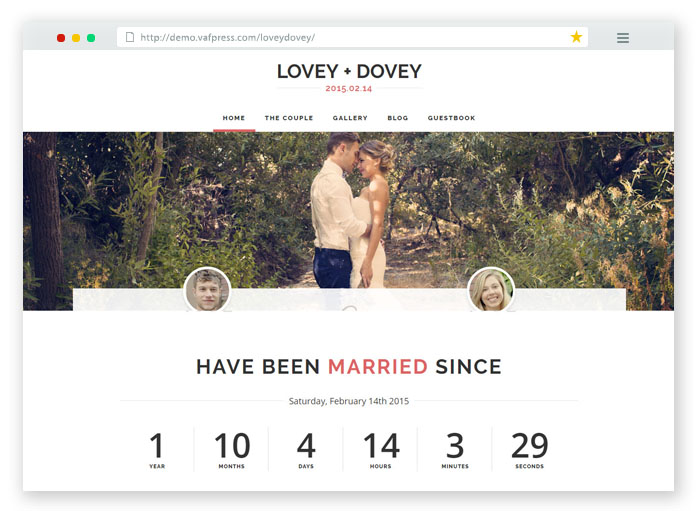 Lovey Dovey Wedding WordPress Theme