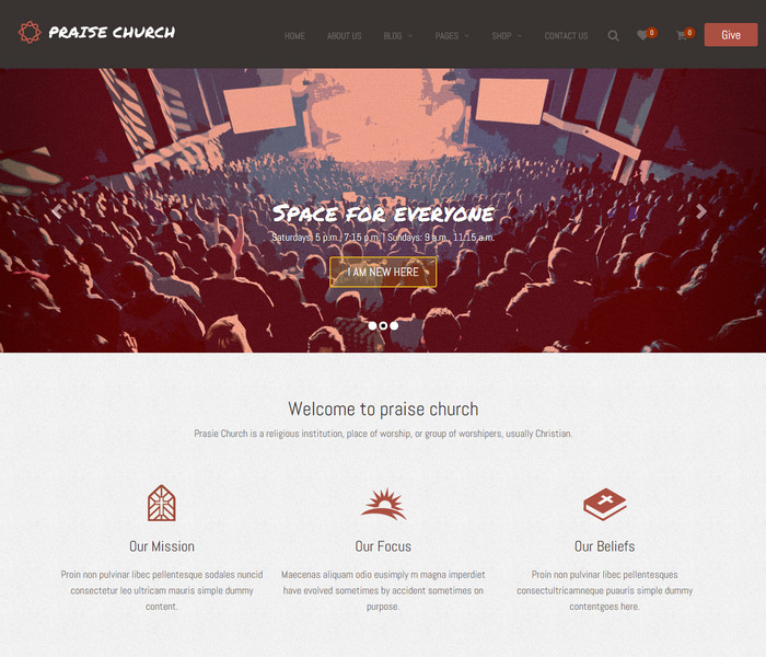 Praise Church WordPress Theme