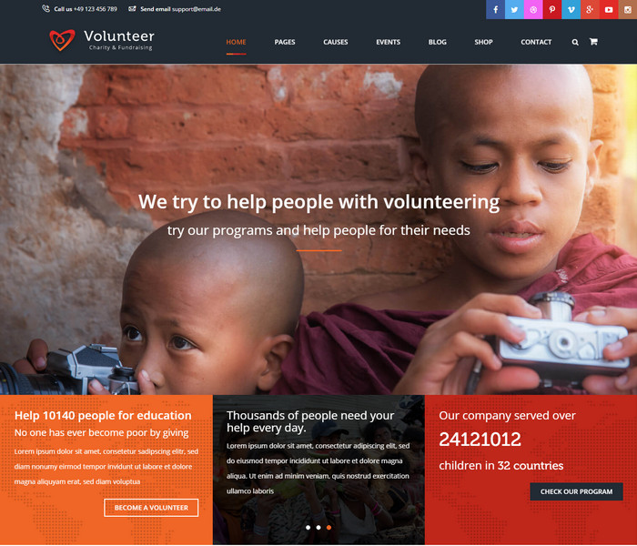 Volunteer Church WordPress Theme