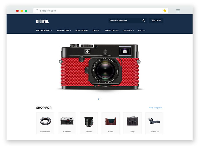 digital store theme with filterable products
