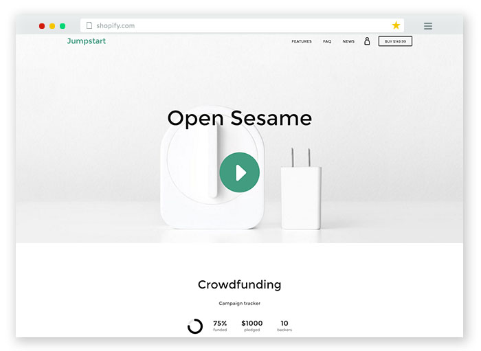 jumpstart crowdfunding ecommerce template