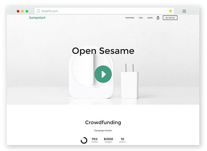 jumpstart crowdfunding ecommerce template