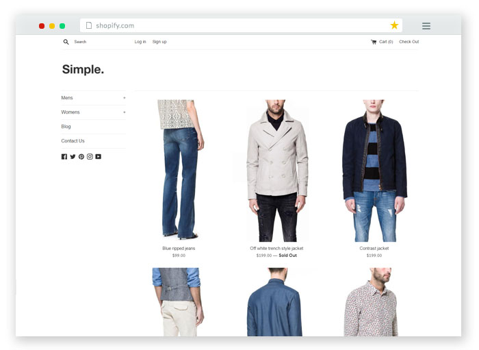 minimal design theme for shopify store