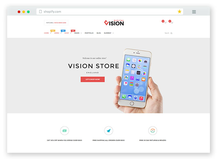 vision drag and drop shopify theme