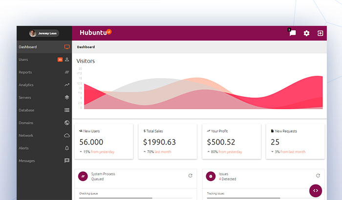 Hubuntu UI Dashboard Template