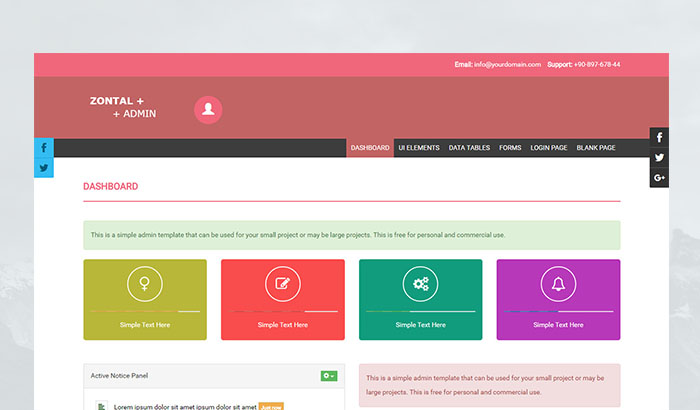 Zontal Admin Template