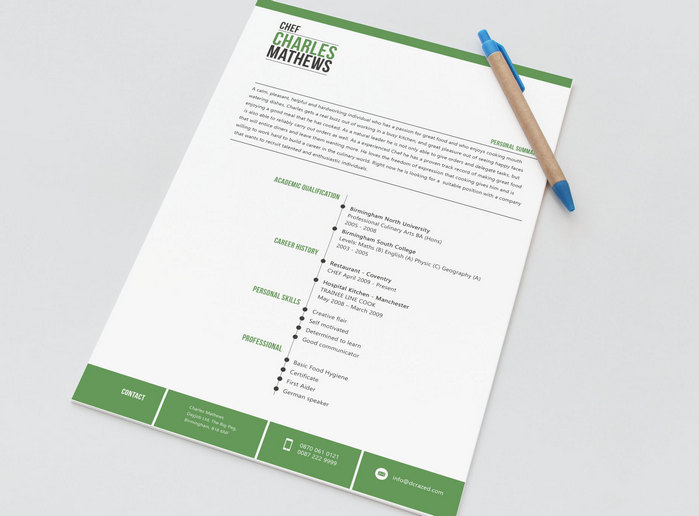free resume template for chefs, restaurant employees